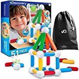 Discovery Kids 51 Piece Magnetic Blocks, Colorful Building Block Set for Boys/Girls, Best 3D Educational Creativity, STEM Toys for Children – Red, Green, Blue, Yellow, White