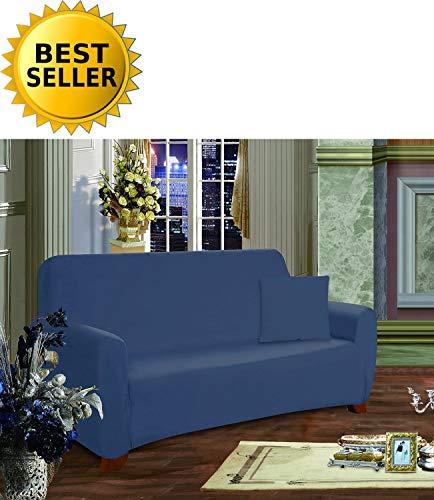 ction Luxury Soft Furniture Jersey Stretch SLIPCOVER, Loveseat Navy Blue ()