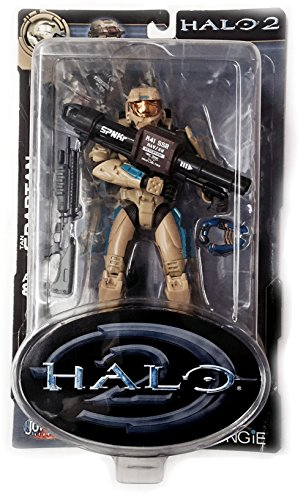 - HALO 2 Tan SPARTAN Series 6 (with Shotgun, Rocket Launcher and Plasma Pistol)Gold Face Shield Tan with brown and blue Armor