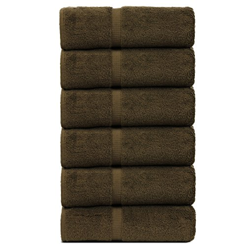Luxury Hotel & Spa Towel Turkish Cotton Hand Towels - Cocoa - Dobby Border - Set of (Cocoa Cotton Border)