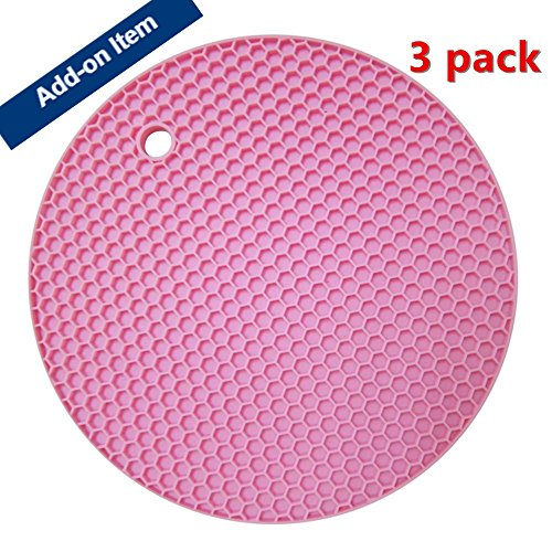 Miji Silicone Heat Resistant Pad (Hot Pot Holder,3pack,Pink)