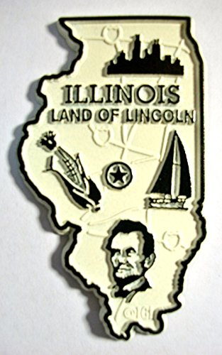 Illinois Land of Lincoln State Map Fridge Magnet (Magnet Fridge Illinois)