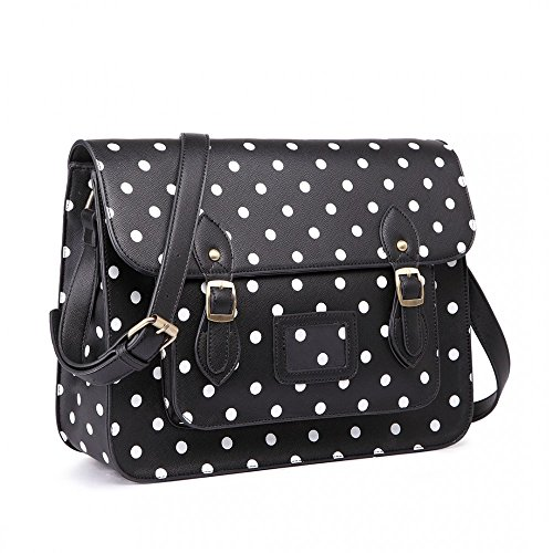 Style Ladies Polka Girls Black Women Bag Cambridge Work School Dot Satchel qUtnBdF