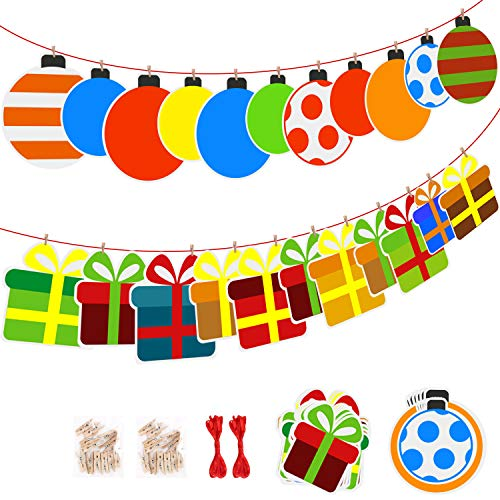 Party Banner Kit, Paper Gift Box & Balloon Shape Banners, 11.5ft 2 Set, Boys and Girls Birthday Party, Baby Shower, Wedding, Holiday and Christmas Party Decorations