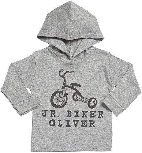SR - Personalised JR. Biker Custom Name Cotton Baby Hoodie - Personalised Baby Gift - Personalised Baby Clothing - Grey - 2-3 years