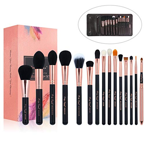 Party Queen 15Pcs Makeup Brushes Set Luxury Rose Golden Synthetic Wool Beauty Brush Tool Cosmetics Brush Kit with Leather Case+Box