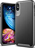Caseology for iPhone XS Max Case [Wavelength Series] - Slim Fit Dual Layer Protective Textured Grip Corner Cushion Design Case for iPhone XS Max 6.5 (2018) - Black