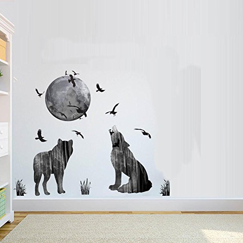 BIBITIME Creative Howling Wolf Silhouette Stickers for sale  Delivered anywhere in Canada