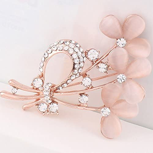 menoa Four Clover Brooch Pin Style Delicate Created Cat Eye Stone Rose Gold Plated Cocktail Lover Gift