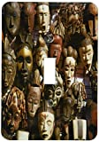3dRose lsp_187950_1 Mask Stall At African Curio Market, Cape Town, South Africa Light Switch Cover