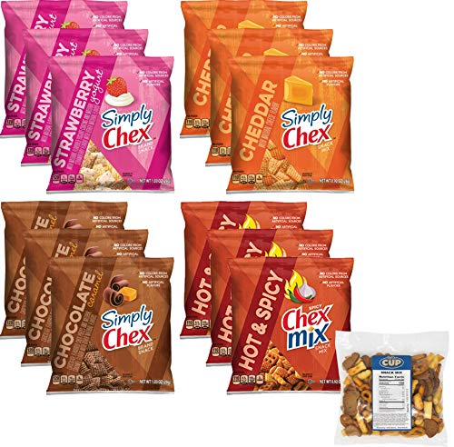 Chex Mix Brand Snack Pack 12 Count 4 Flavor Variety - 3 of Each Flavor, Strawberry Yogurt, Cheddar, Chocolate Caramel, Hot N Spicy with By The Cup Snack Mix