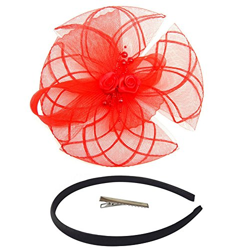 [Fascinator Hair Clip Head Hoop Feather Rose Flower Derby Cocktail Party Wedding Women Red 5] (1920s Flapper Hairstyles)
