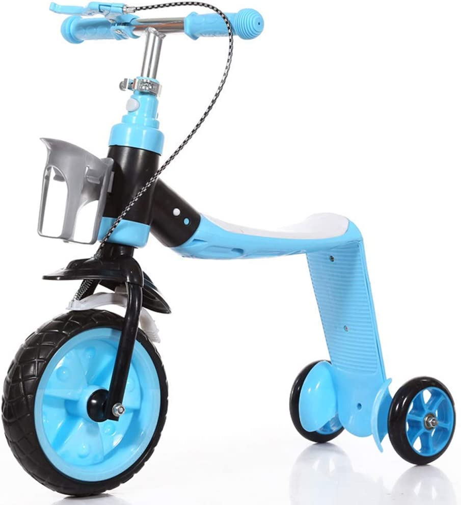 Kick scooter plegable, 2 en 1 Niños Scooter niño se pare del asiento balance bici del bebé de múltiples funciones del niño del triciclo de niños plegable Equilibrio coche con 3 Ruedas ( Color : Blue )