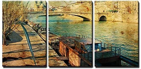 Old Fashioned Paris France with Space for Text or Image x3 Panels