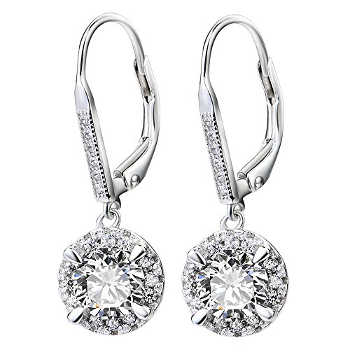 YFN Platinum-Plated Sterling Silver Crystal Halo Leverback Dangle Drop Women Earrings (Round Crystal) - Sterling Silver Pave Crystal