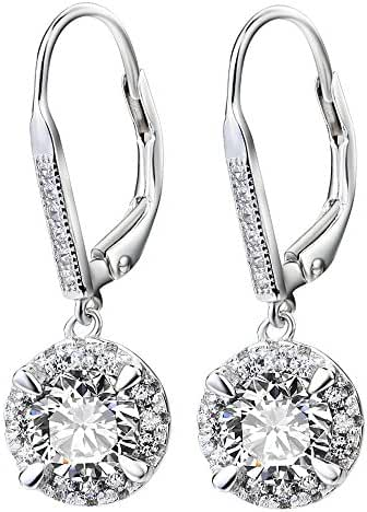 YFN 925 Sterling Silver White Crystal Halo Leverback Dangle Women Earrings