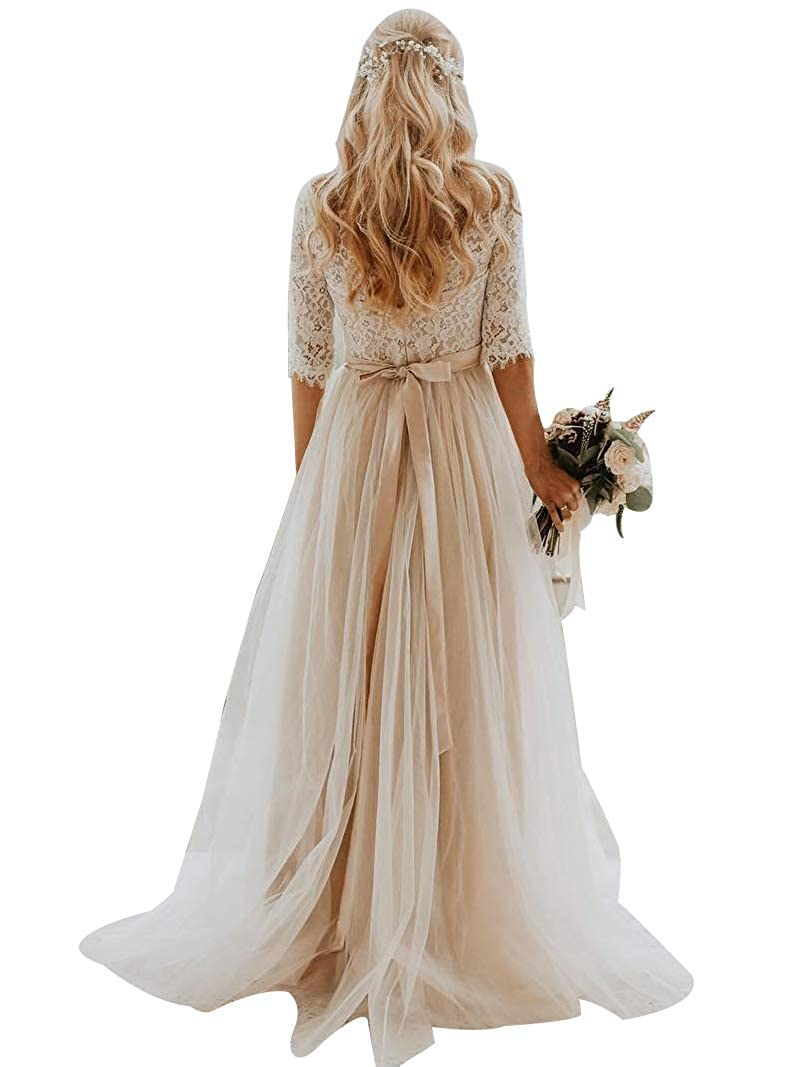 Champagne PearlBridal Women's V Neck Lace Half Sleeves Bohemian Wedding Dresses fro Bride 2019 Long Wedding Gowns