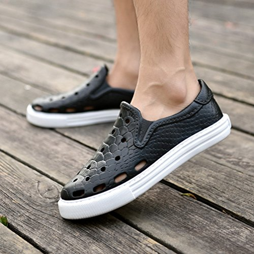 Summer Lazy with Shoes Sandals Net Men's T Hollow Cloth Beach Black Casual Closed Out JULY Toe Slippers qHE6Tw4F