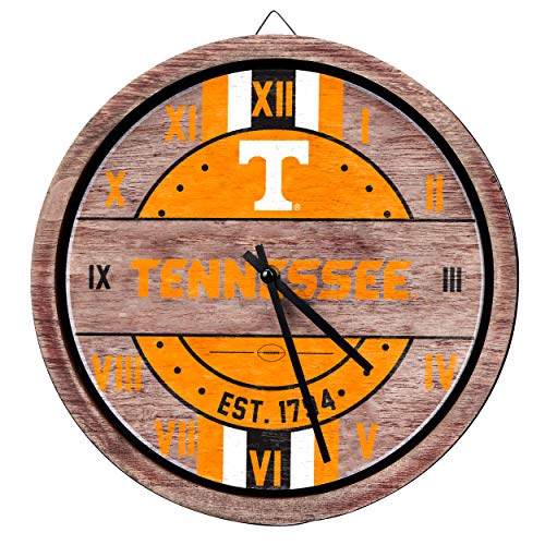 (FOCO NCAA Tennessee Volunteers Team Logo Wood Barrel Wall ClockTeam Logo Wood Barrel Wall Clock, Team Color, One Size)