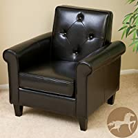 Christopher Knight Home 238656 Isaac Tufted Leather Club Chair, Black