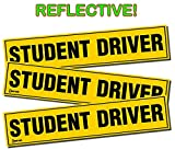 Zento Deals Set of 3 - Student Driver Magnets - Reflective Vehicle Car Sign - Black Letters on a Yellow Reflective Background 12 X 3 X 0.1 Inches