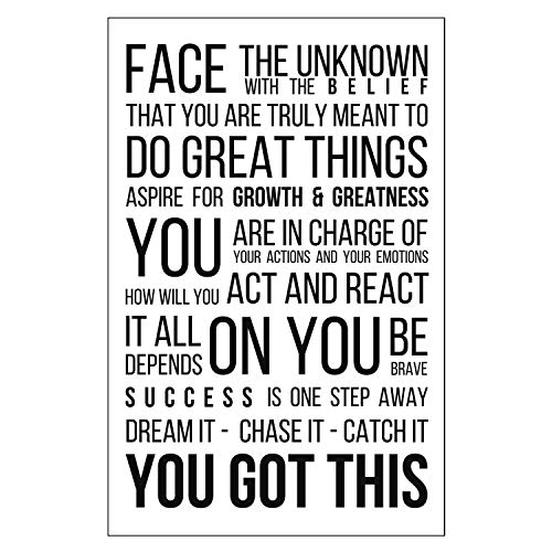 11 X 17 Black on White Motivational Poster Inspirational Text Wall Decor Office Desk Locker Classroom Gym Cubicle College Dorm Face The Unknown Encouragement for Entrepreneurs Students Teens Dreamers (Dorm Teen College)