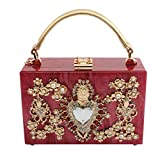 LETODE Women' Sparkling Crystal Clutch Purse Elegant Acrylic Evening Bags Wedding Party Handbag Pursey (RED)