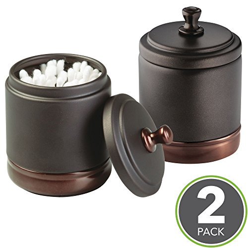 mDesign Metal Bathroom Vanity Storage Organizer Canister Jar for Cotton Balls, Swabs, Beauty Blenders, Makeup Sponges, Bath Salts, Hair Ties, Jewelry - 2 Pack - Bronze with Warm Brown Accents