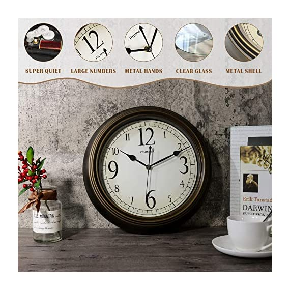 Plumeet Large Retro Wall Clock - 13'' Non Ticking Classic Silent Clocks Decorative Kitchen Living Room Bedroom - Battery Operated (Big Numbers) - 🕗 Plumeet advantage -- Vintage look; large size-13 inch; no ticking super quiet movement; big arabic numerals clear to read. large decorative for home & office, best gift for your family or friends. 🕗 Superior Movement Quality -- Reliable clock mechanism to guarantee accurate time, quiet sweep second hands ensure a good sleeping and work environment, this clock will definitely impress you. 🕗 Western Classical Style -- Antique and vintage style decoration, with practical and beautiful combination. clear display and convenient to read time with large number inside, very aesthetically pleasing. - wall-clocks, living-room-decor, living-room - 51dUokxtm6L. SS570  -