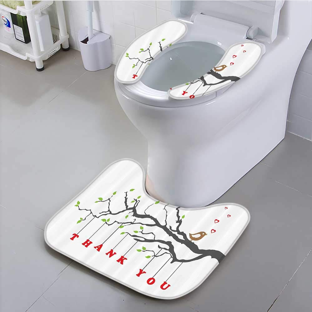 Auraisehome Universal Toilet seat Thank You Quote Hangs from Branch with Leaves an Bubble Hearts Bathroom Convenient Safety and Hygiene