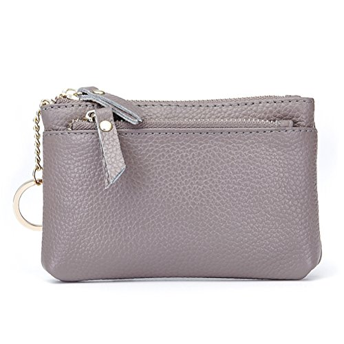 Womens Leather Coin Purse Keychain Zipper Change Holder Wallet(Grey) by Fmeida (Image #3)