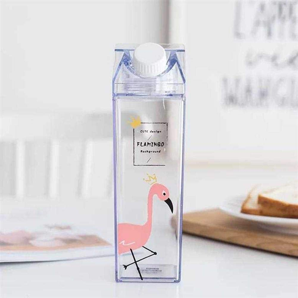 Euopat Water Cup Sports Water Bottle Portable Cute Cartoo Flamingos Water Drinking Cup,for Gym Outdoor Sports Yoga Camping