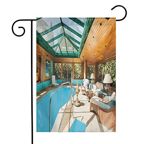 Portly Birds Garden Flag - seedine Premium Garden Flag Holiday Decoration Modern Residential House Large Indoor Pool Furniture Sunrays Leisure Time Print 12.5 x 18 Inch Green Pale Brown Blue