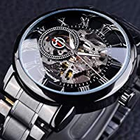 Forsining Men's Luxury 3D Hollow Engraving Full Clock Luminous Design Stainless Steel Mechanical Watch (Black)