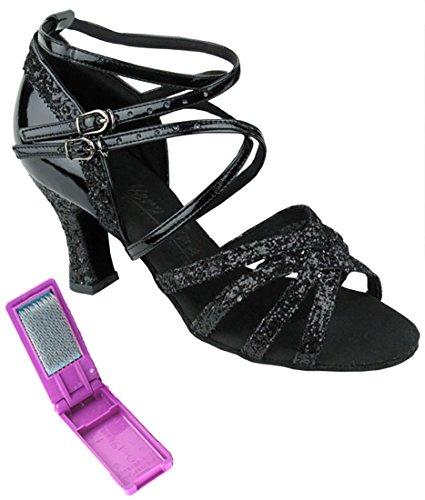 Très Belle Salle De Bal Latin Tango Chaussures De Danse De Salsa Pour Les Femmes C5008m 2,5 Pouces Talon + Bundle De Pinceau Pliable Noir Sparkle Et Brevet Noir