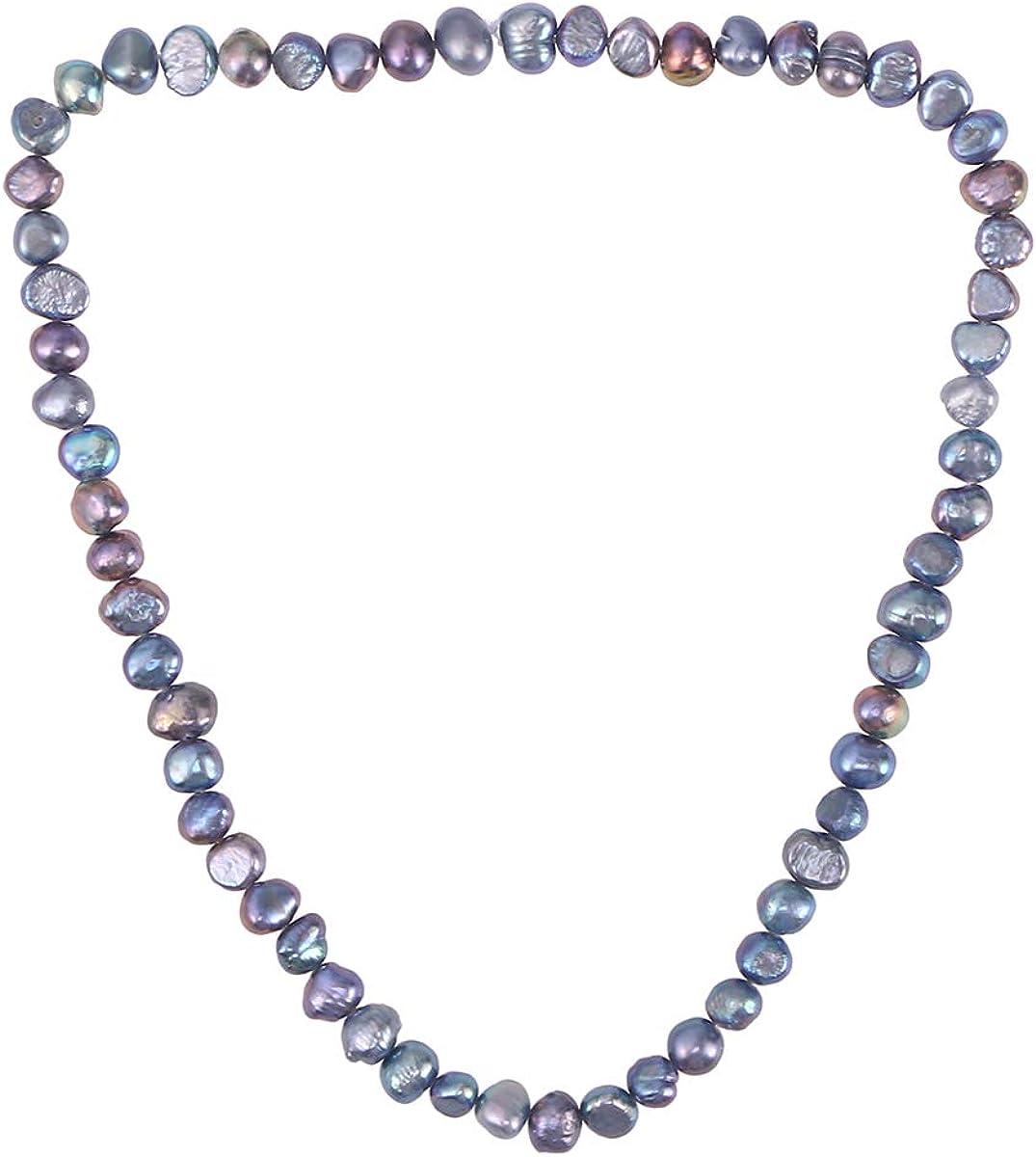 FENICAL Collar de Perlas Naturales cultivadas de Agua Dulce barroca Moda Collar de Perlas de par Irregular (Gris)