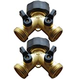 AuKvi 2-Way Brass Water Splitter/Shut Off Valve (2 Pack)