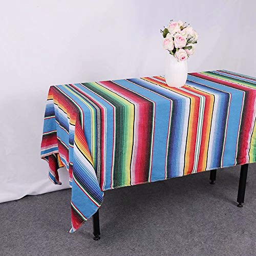 GFCC 57''x102'' Blue Mexican Blanket Tablecloth Rectangular Cotton Mexican Serape Table Cloth for Mexican Wedding Themed Party Decorations Party Supplies Accessories