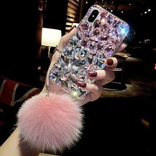 Cfrau Luxury Full Diamond Case with Black Stylus for iPhone Xs Max,3D Handmade Stunning Pink White Stones Rhinestone with Rabbit Furry Plush Ball Sparkle Crystal Soft Bumper Case