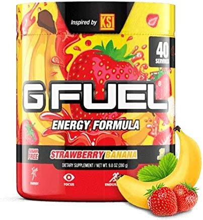 G Fuel KSI s Strawberry Banana Tub 40 Servings Elite Energy and Endurance Formula 9.8 oz.