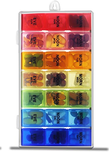 Pill Organizer Box with Snap Lids| 7-day AM/PM | Detachable Compartments for Pills, Vitamin. (Rainbow+60182) by Inspiration Industry NY (Image #4)