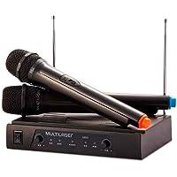 Par de Microfone sem Fio Alcance de até 8M + Receiver Preto Multilaser - SP328 Multilaser SP328, Preto