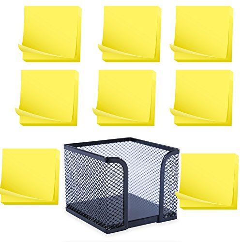 Memo Holder, Steel Mesh Sticky Notes Dispenser - with 12 Pads Adhesive Sticky Notes, Yellow - 3x3 inch - Total of 1200 Sheets - Value Set