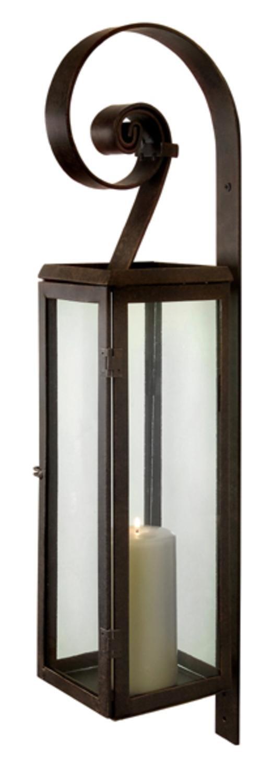 CC Home Furnishings 28'' Rustic Scroll Rectangular Pillar Candle Lantern Wall Sconce