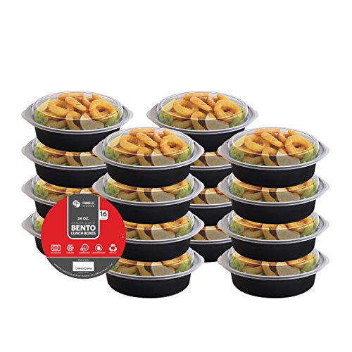 [VALUE 16 PACK] Party Bargains Leakproof Round Plastic Bento Lunch Box - Portion Control Food Containers With Airtight Lids Set, Reusable, Microwavable, Dishwasher & Freezer Safe, 24 Ounce Capacity (Bento Box Accesories compare prices)