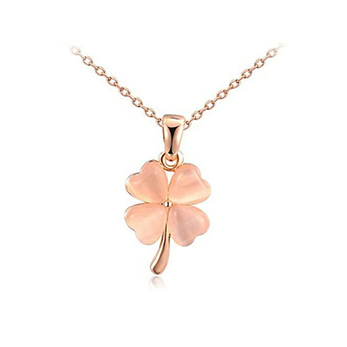 IzuBizu London Rose Gold Flower Pendant 18CT Gold Plated Four Leaf Clover Necklace - Luxury Gift Box 1NNj5X