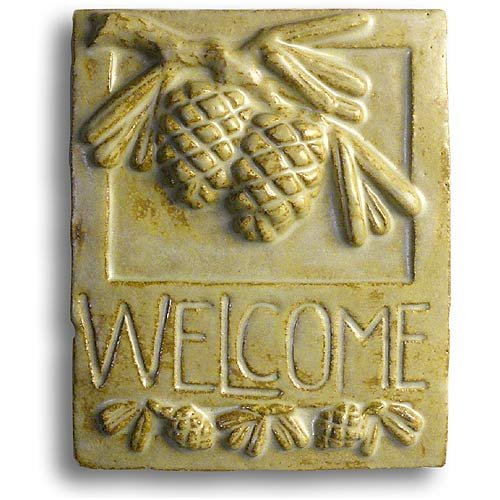 Pine Cone American Made Craftsman-Style Ceramic Pottery Welcome Plaque, 9