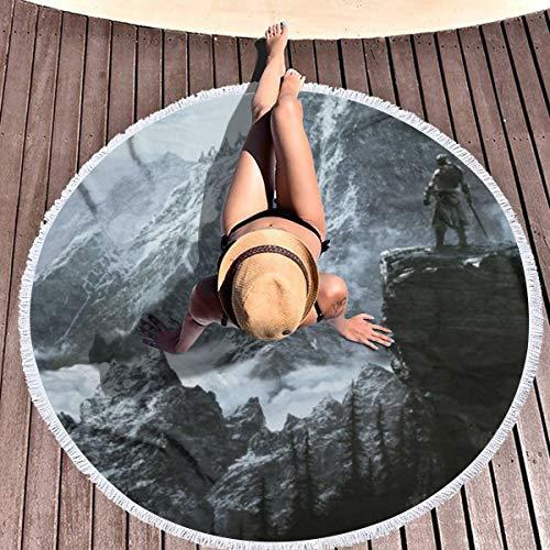 Thick Round Beach Towel Blanket Skyrim Mountain Circle Picnic Carpet Yoga Mat 59 in