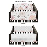 Sweet JoJo Designs 2-Piece Blush Pink, Grey and White Side Crib Rail Guards Baby Teething Cover Protector Wrap for Watercolor Floral Collection by