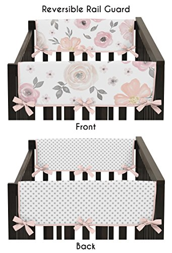 - Sweet Jojo Designs 2-Piece Blush Pink, Grey and White Side Crib Rail Guards Baby Teething Cover Protector Wrap for Watercolor Floral Collection